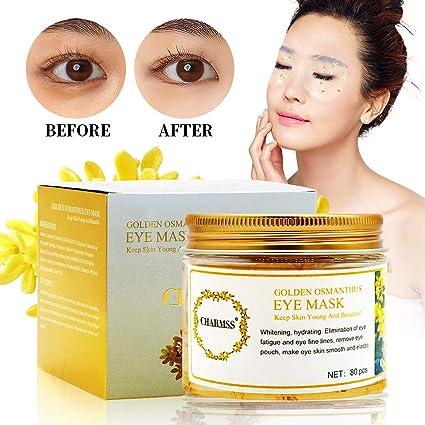 Máscara ocular osmanthus, mascarilla hidratante osmanthus dorada antienvejecimiento, reducir los círculos oscuros oculares, quitar las bolsas ...