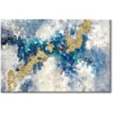 Contemporary Painting Canvas Wall Art: Teal & Blue Abstract Picture Artwork for Living Room (36'' x 24'' x 1 Panel)