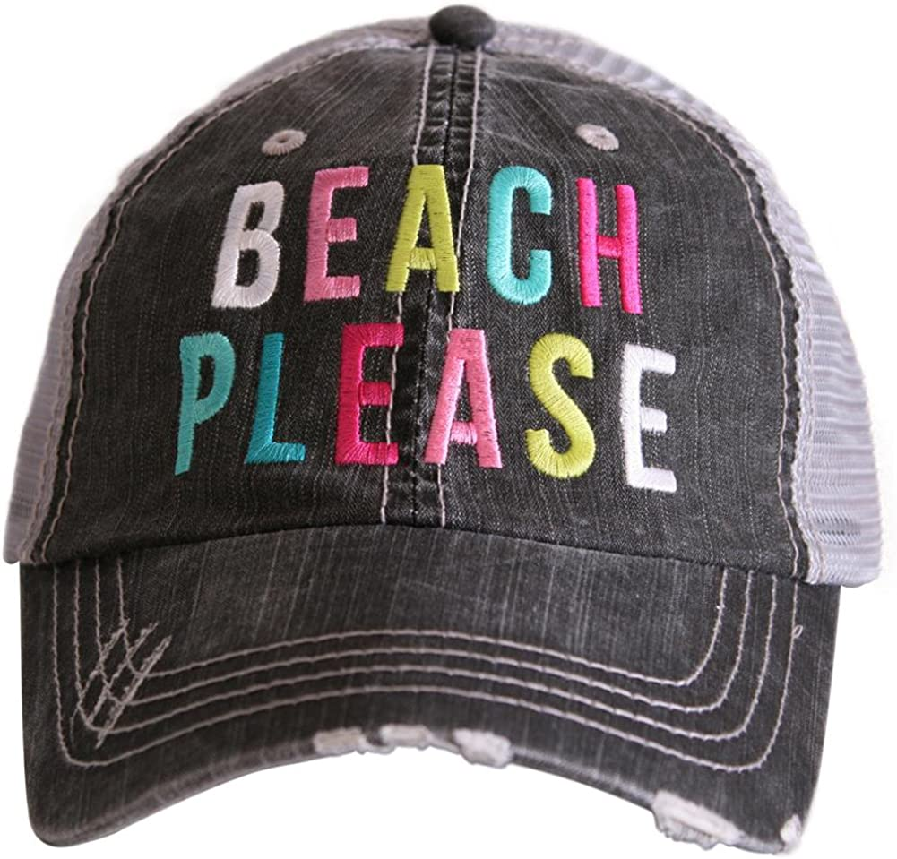 Katydid Beach Please Women's Colorful Print Distressed Grey Trucker Hat