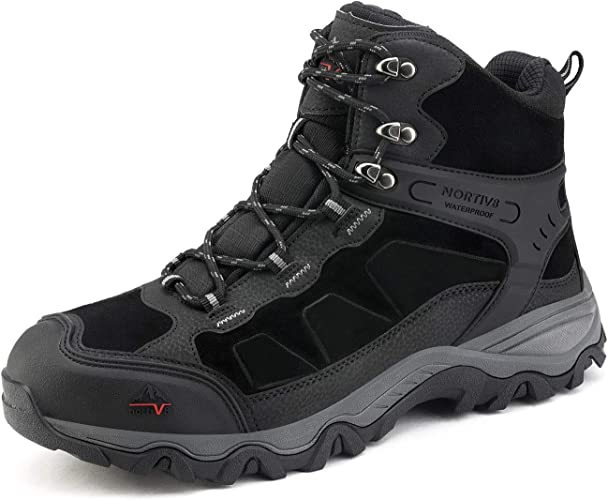 NORTIV 8 Men's Waterproof Hiking Boots Outdoor Mid-Trekking Backpacking Mountaineering Shoes, rubber sole, in color black, traditional lace-up design for safety steps.