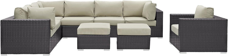 Modway Convene Wicker Rattan 9-Piece Outdoor Patio Sectional Sofa Furniture Set in Espresso Beige