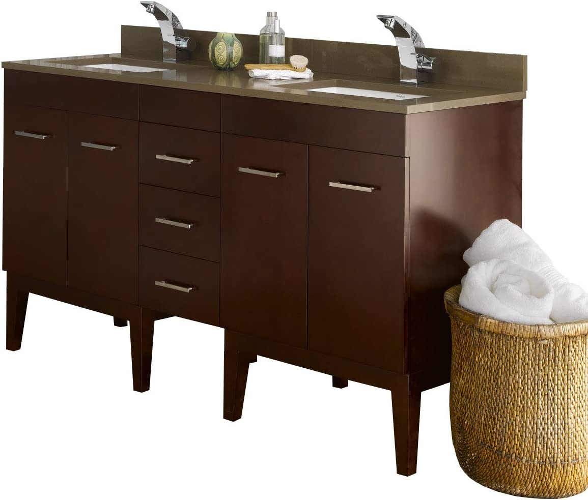 Amazon Com Ronbow Venus 59 Inch Double Bathroom Vanity Set In Dark Cherry Vanity Cabinet With Drawer And Cabinet Shelf And Bathroom Vanity With Top White Bathroom Sink 037023 7 H01 Kit 2 Kitchen Dining