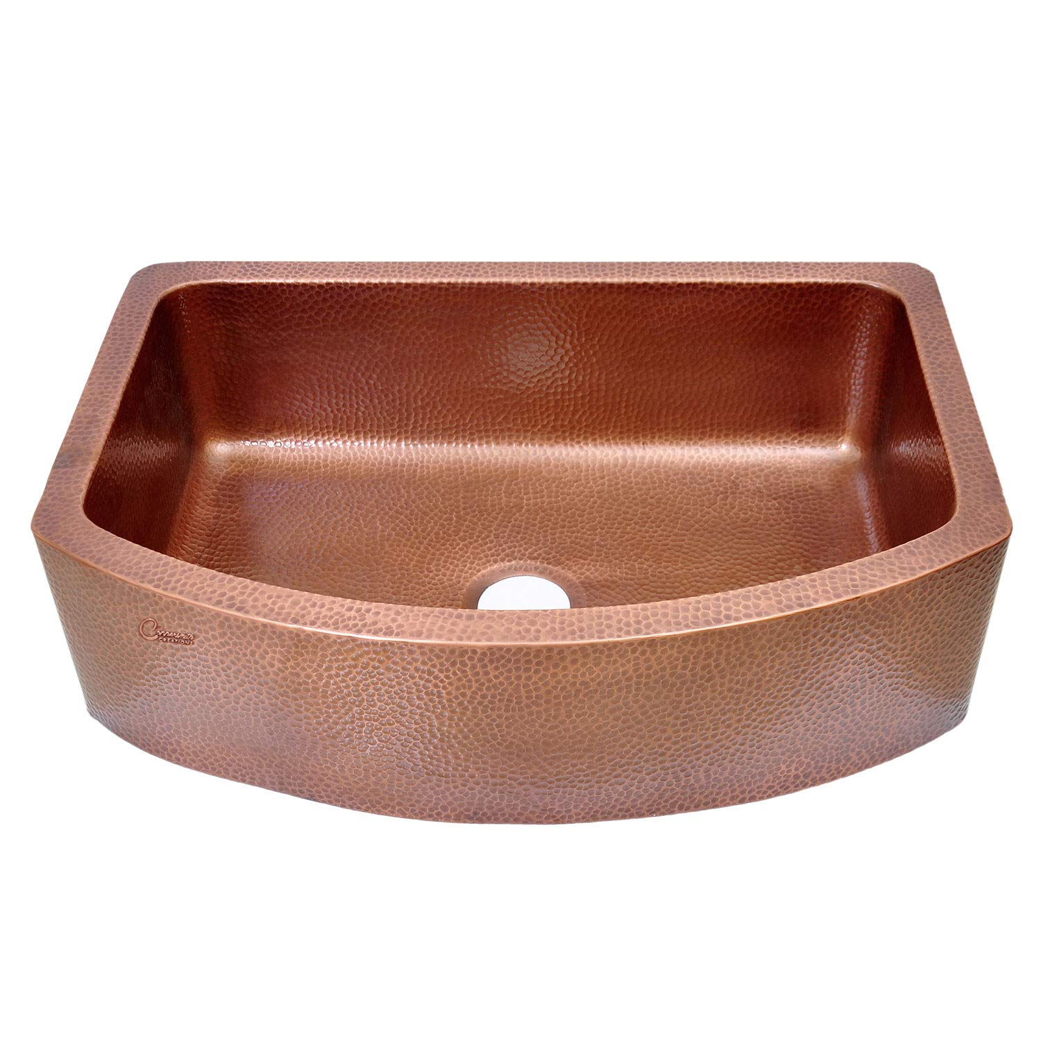 Coppersmith Creations 33 x 22 x 9 inch D Shape Copper Farmhouse Sink Antique Hammered in 16 Gauge (Best Quality Best Price) by Coppersmith Creations