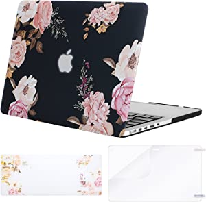 MOSISO MacBook Pro 13 inch Case 2015 2014 2013 end 2012 (Models: A1502 & A1425), Plastic Peony Hard Shell Case&Keyboard Cover&Screen Protector Compatible with MacBook Pro Retina 13 inch, Black
