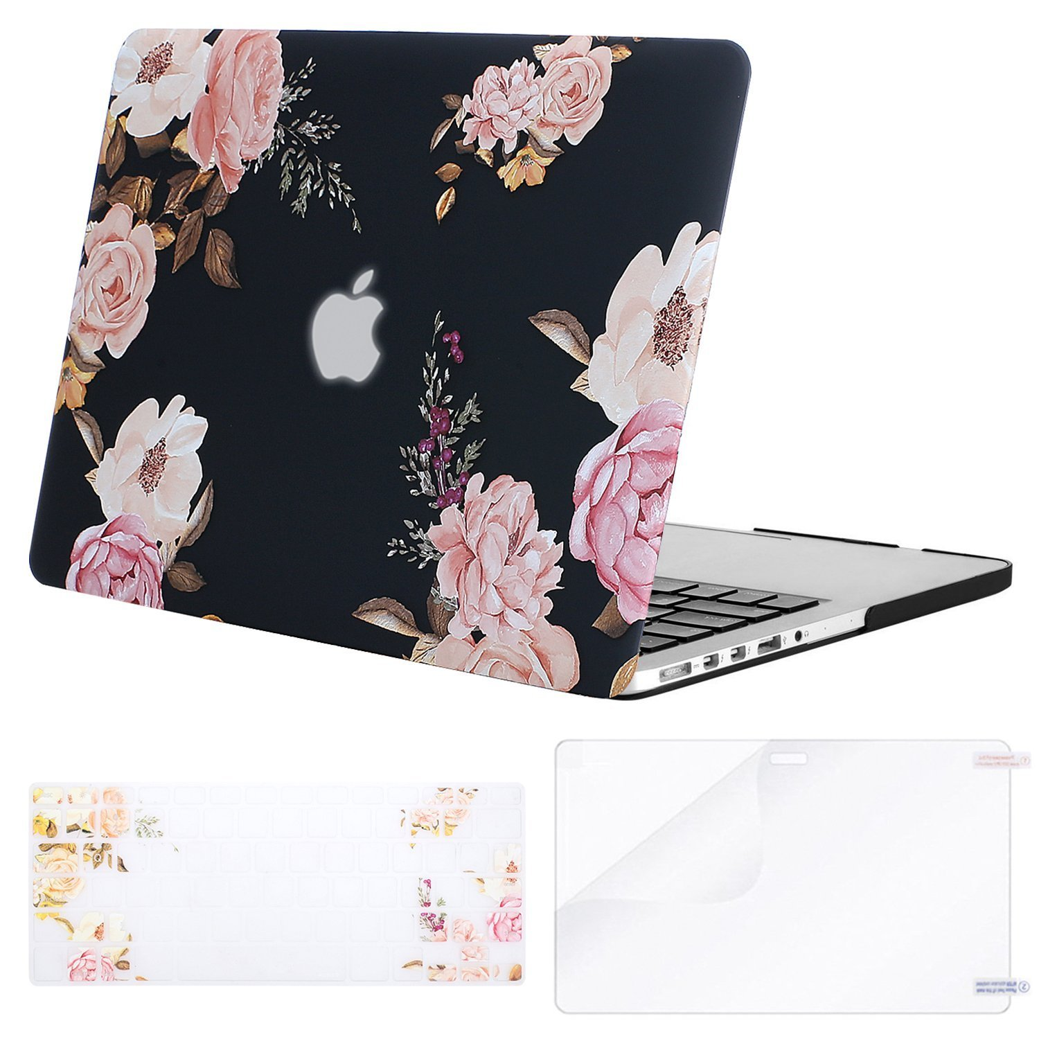 MOSISO Case Only Compatible Older Version MacBook Pro Retina 13 Inch(A1502 / A1425, Release 2015 - end 2012), Plastic Flower Pattern Hard Case & Keyboard Cover & Screen Protector, Peony Blossom