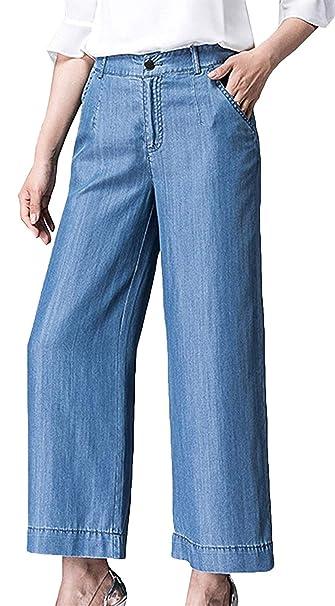 Pantalones De Mezclilla De Pierna Ancha Pantalones De ...