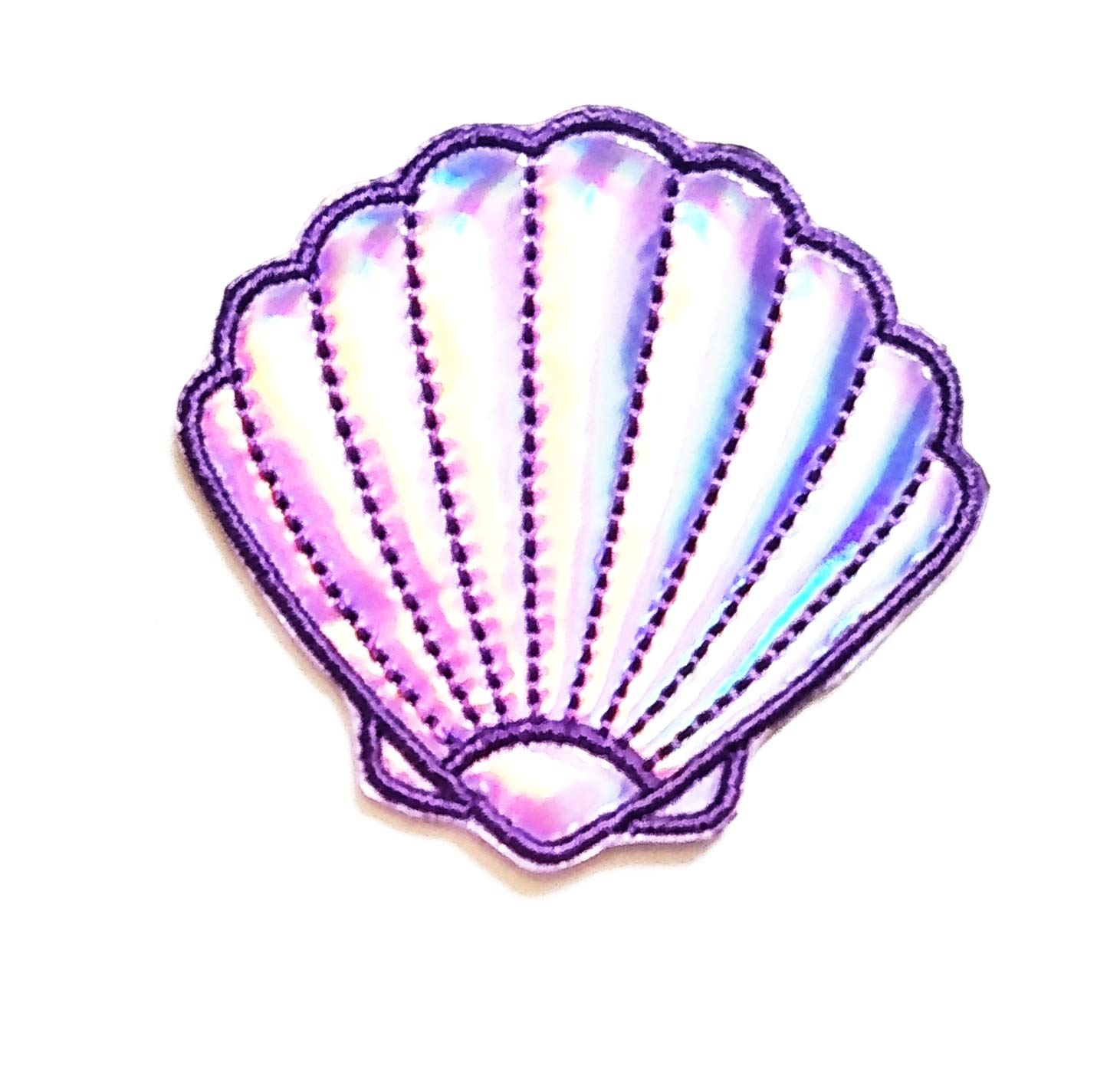 Nipitshop Patches Purple Shellfish Patch Shell Shellfish Sea Life Cartoon Kids Patch Embroidered Iron On Patch for Clothes Backpacks T-Shirt Jeans Skirt Vests Scarf Hat Bag