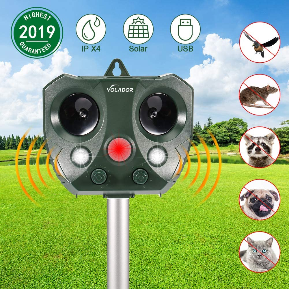 Repelente Ultrasónico de Animales, VOLADOR Repelente de Gatos, Solar Repelente de Animales, con Sensor de Movimiento PIR, Ultrasonido y Flash LED para Conducir Gatos, Perros, Conejos, Zorros