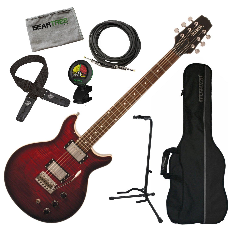 Hamer satfw-dcb oscuro Cherry Burst doble corte para guitarra ...