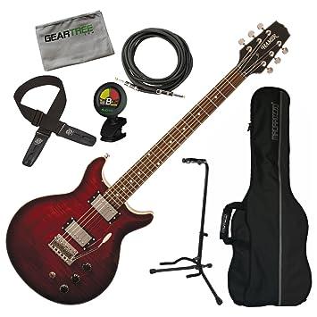 Hamer satfw-dcb oscuro Cherry Burst doble corte para guitarra eléctrica w/gamuza de funda, geartree, soporte, cable, sintonizador, y Lock-It correa: ...