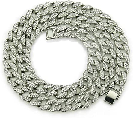 Iced Out Strass Cristal Gold Cuban Link Chain Men/'s Hip Hop Collier 14 mm