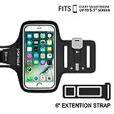 PORTHOLIC Fascia Da Braccio Sportiva iPhone 6 6s 7 Resistente all'Acqua con Portachiavi, Comparto Cavo, Porta Scheda per iPhone 7/6, Galaxy S6/S5, iPhone 5/5C/5S fino a 5,1 Pollici (Nero)
