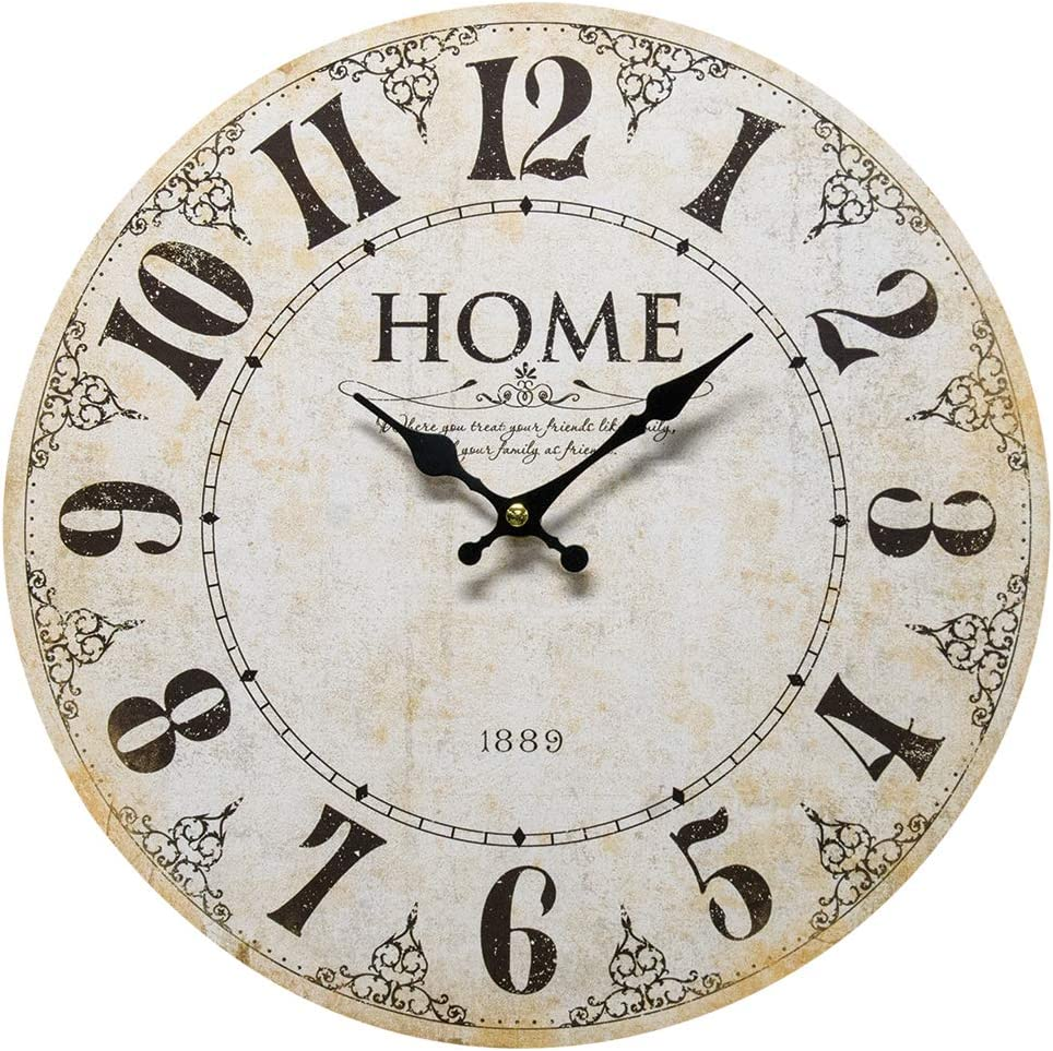 Home - Where you Treat Your Friends Like Family, and Your Family Like Friends. - Round Wood Style Wall Clock for Home - Arabic Numerals, Farmhouse Rustic Home Decor - 13 Inches Diameter