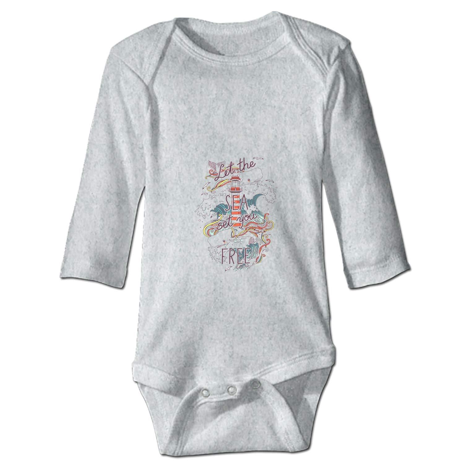 Baby Cotton Bodysuits Whales and Waves Long-Sleeve Onesies