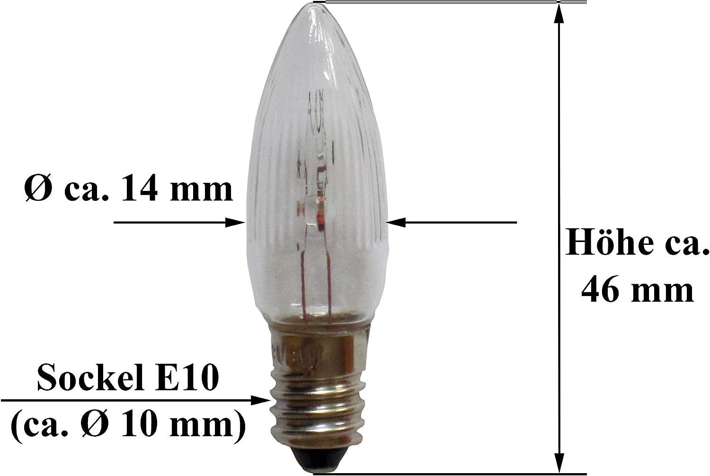 Schwibbogen Lichterkette E10-10er Pack 8V 3W geriffelte Topkerze außen