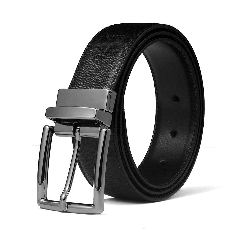 Fibbia girevole Giorgio Vandelli Cintura uomo reversibile in Vera Pelle 35mm Made in Italy Nera e Blu