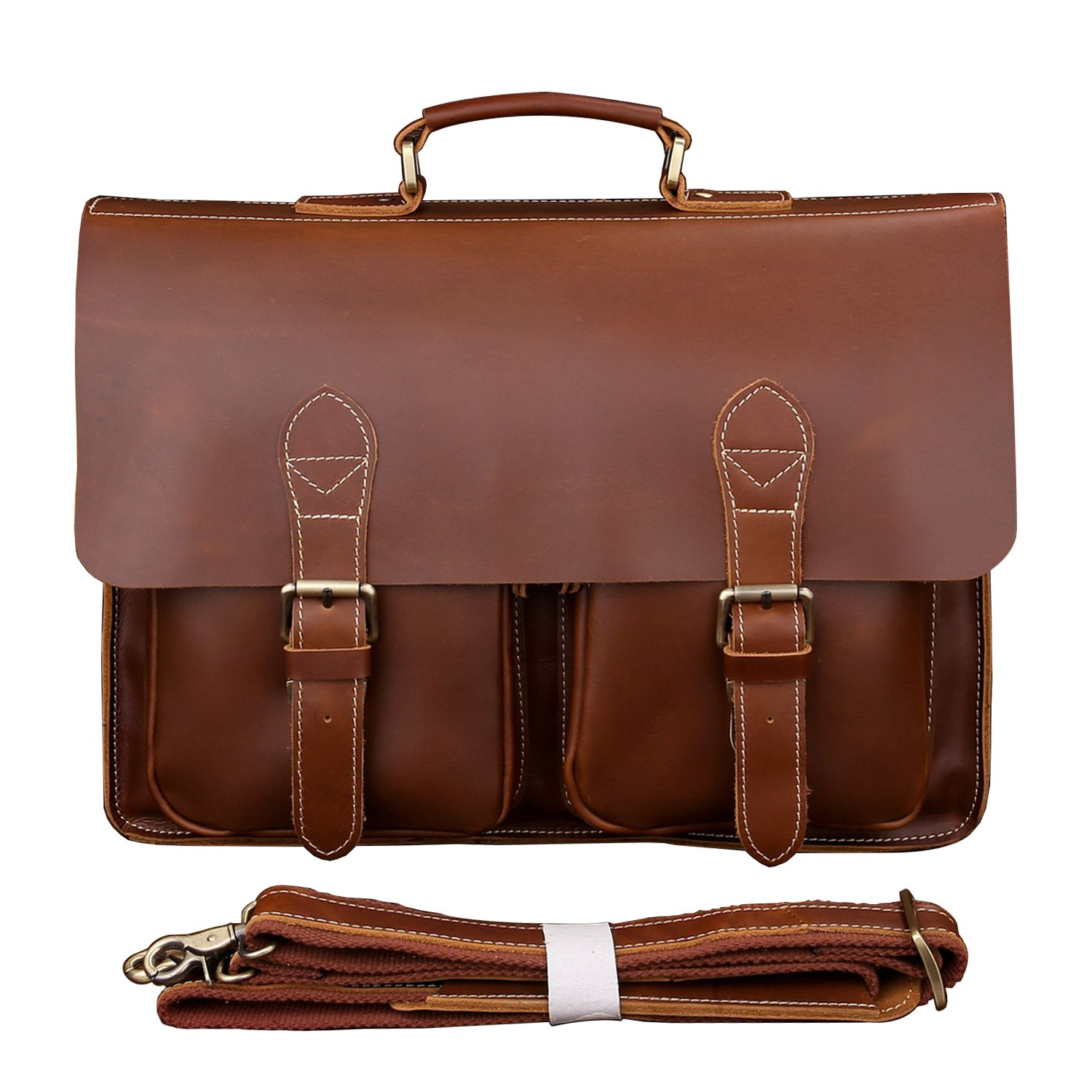 BAIGIO Office 15.6'' Laptop Briefcase Men Leather Business Shoulder Messenger Bag (Red Brown)