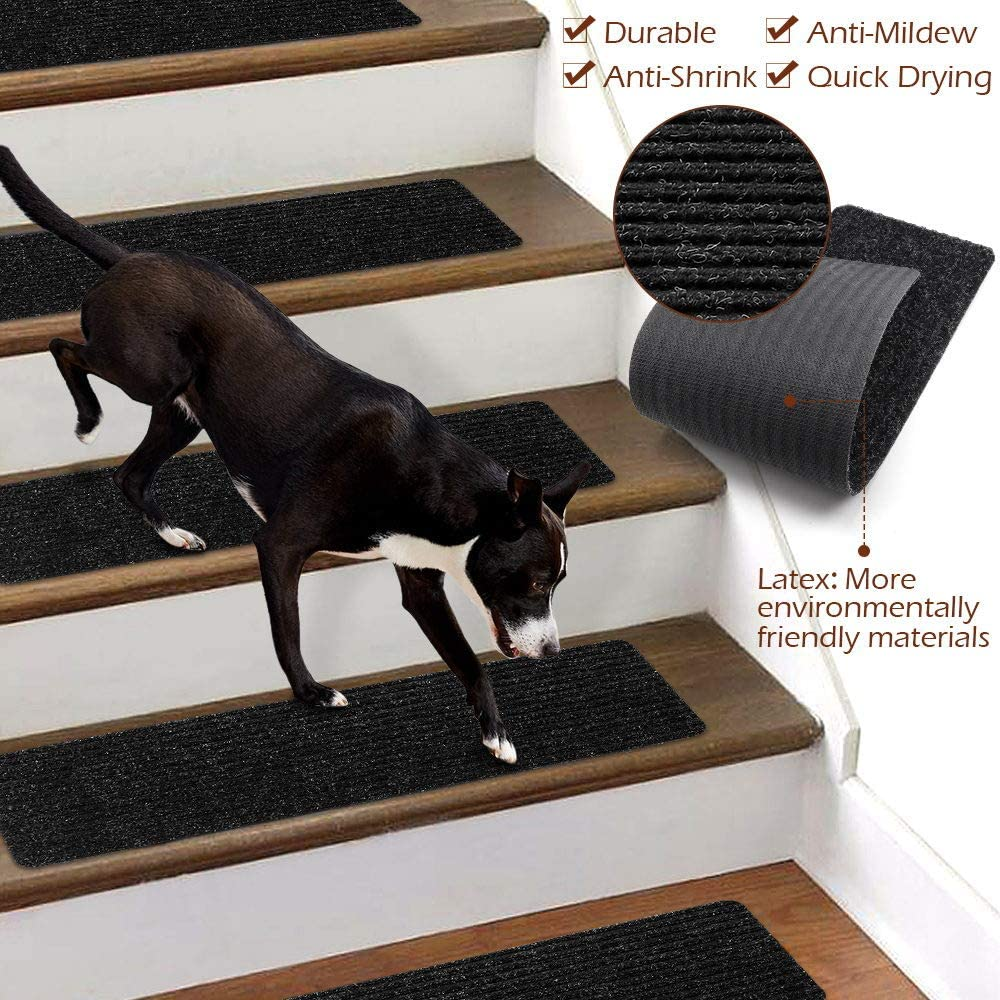 , Black, Set of 16 30 x 8 inch Stair Treads Non-Slip Carpet Indoor Set of 16 Black Carpet Stair Treads Stair Rugs Mats Rubber Backing