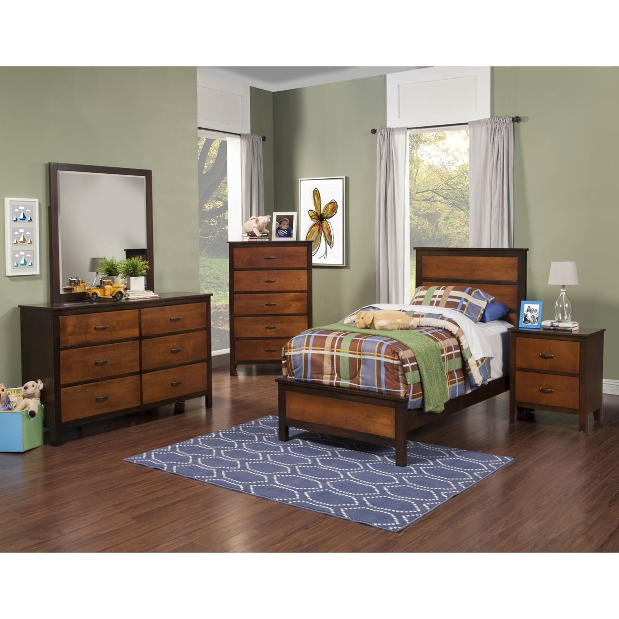 Brunswick Modern Youth 4 Piece Twin Bed, Nightstand, Dresser & Mirror in 2 Tone Copper with Chestnut Trim