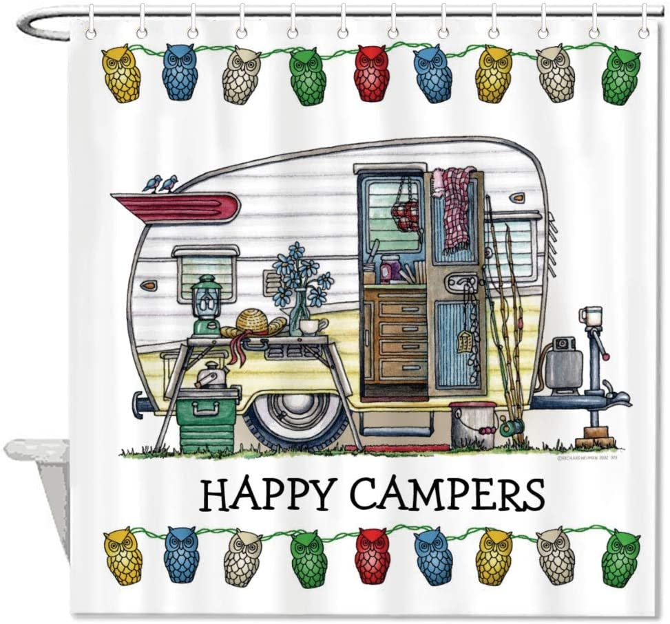 """Mesllings Shower Curtains - Rv Happy Campers Polyester Fabric Bathroom Decor Set with Hooks - 48"""" X 72"""""""