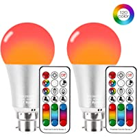Colour Changing Lights Bulb, Bayonet RGBW LED Bulbs 10W Mood Lighting with Remote Control, Dual Memory Function, 120 Color Choices for Bedroom Bar Party KTV Stage Effect Lights (2 Pack)