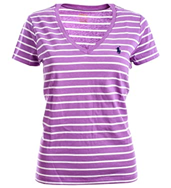 9d098445eadb87 Ralph Lauren Polo Damen V-Neck Shirt T-Shirt Flieder-Weiß Gestreift Größe