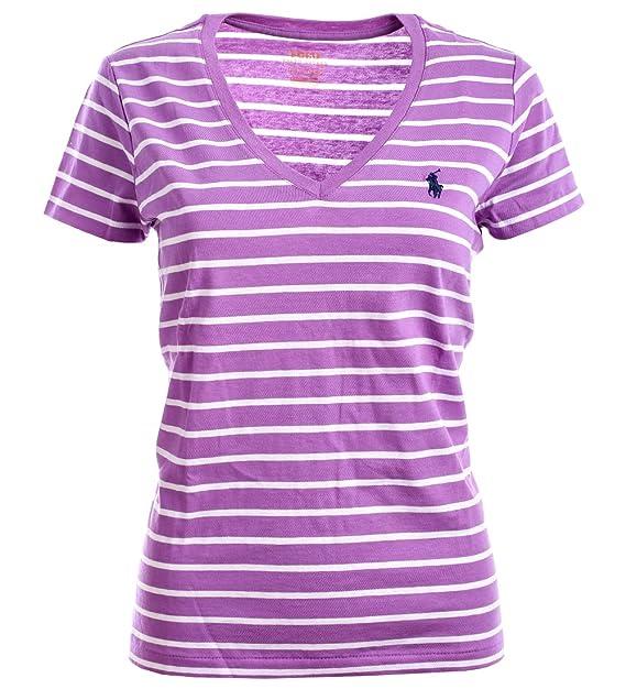 f4647d11220c Ralph Lauren Polo Damen V-Neck Shirt T-Shirt Flieder-Weiß Gestreift Größe