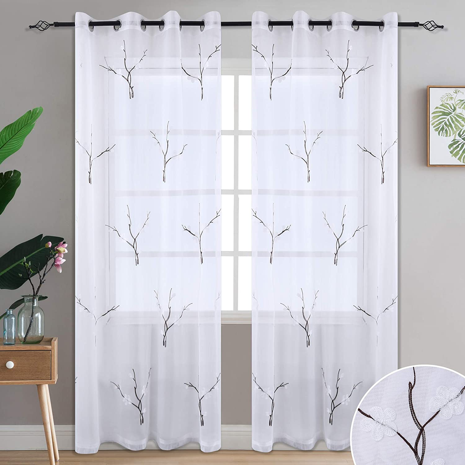 one Pair, 52 Width x 84 Length, Brown DONREN Foliage Embroidery Sheer Window Curtains for Living Room Grommet Voile Window Panels
