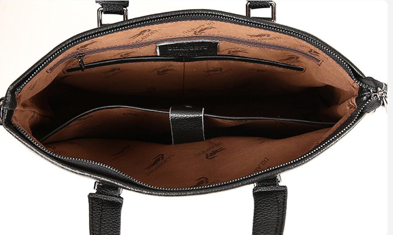 Black-Cross Mens Handbag Soft Leather Shoulder Bag Briefcase
