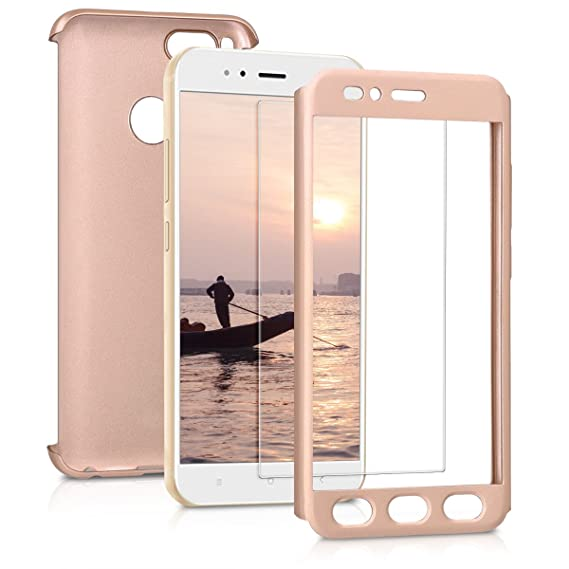 kwmobile Cover for Xiaomi Mi 5X / Mi A1 - Shockproof Protective Full Body  Case with Screen Protector - Metallic Rose Gold