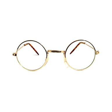 john lennon vintage retro round metal frame clear lens eye glasses gold