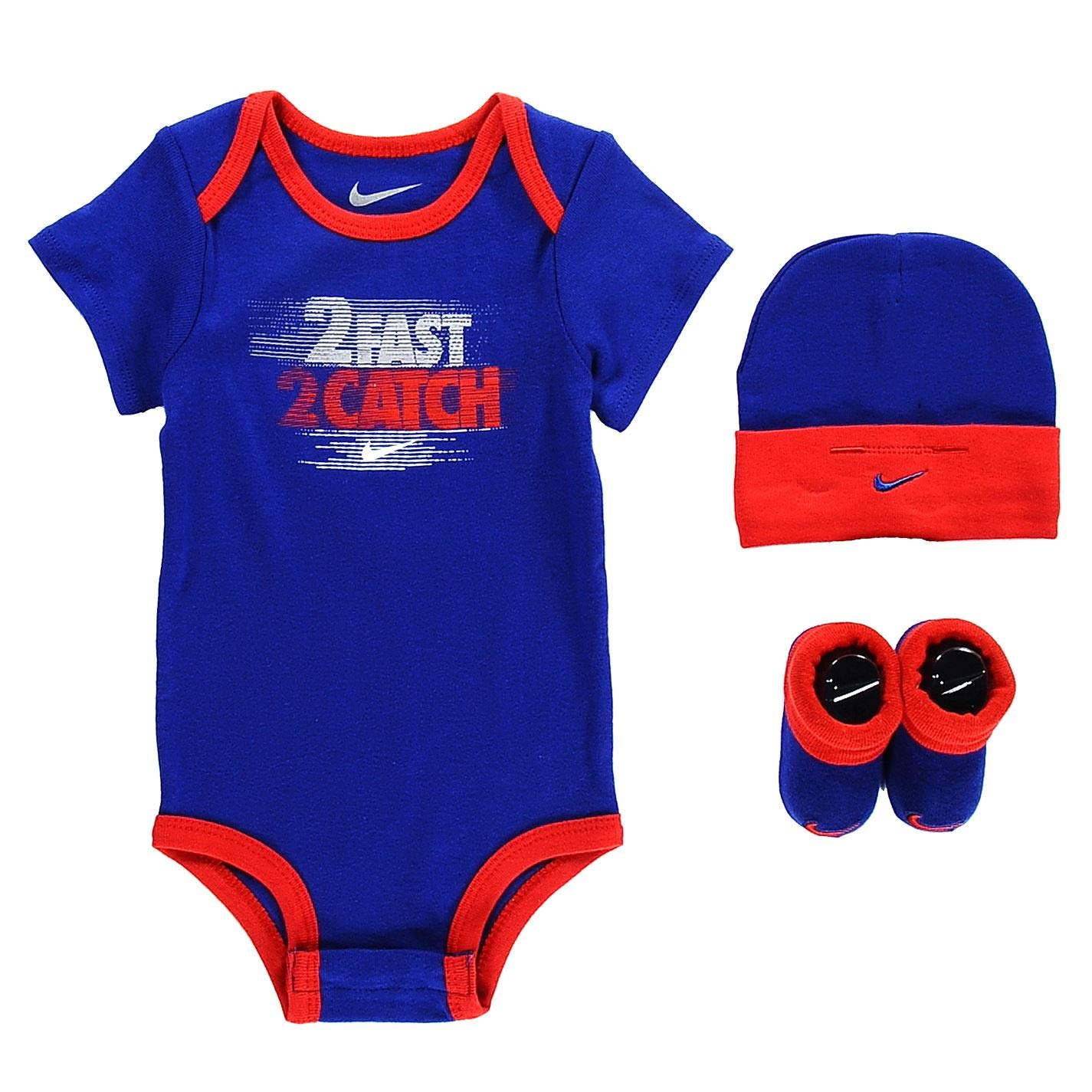 3148ac541 Nike Age 6-12 Months 3 Piece Infant Set Baby Set Hat Beanie Bootie Shoes  Baby Boys Romper Royal Blue/Red