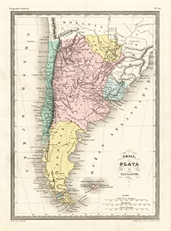 Theprintscollector Kunstdruck Antikes Karte Sudamerika Uruguay