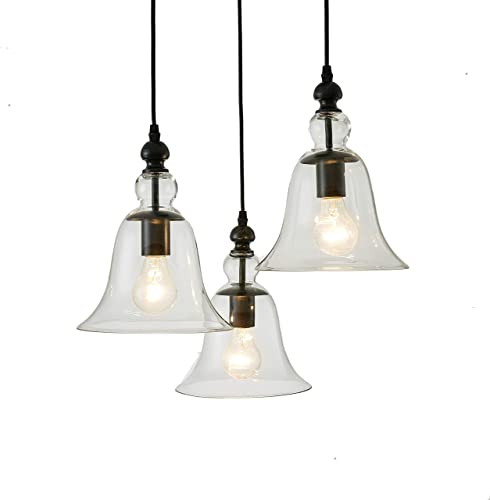 Yamila Bell-Shaped Glass Antique Black 3-Light Pendant Chandelier