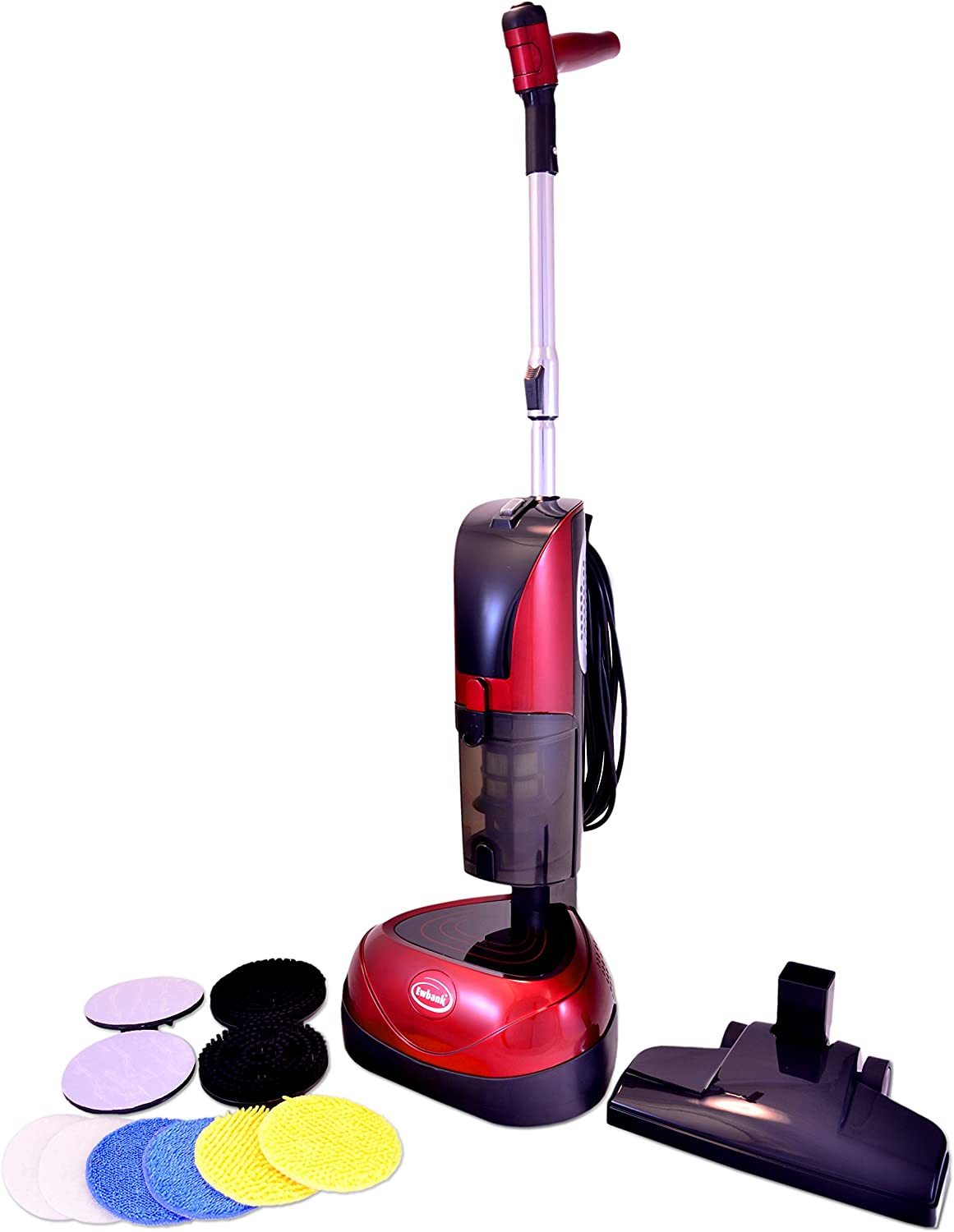 Ewbank EPV1100 4-in-1 Floor Cleaner, Scrubber, Polisher and Vacuum, Red Finish, 23-Foot Power Cord