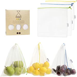 Frusack Set of 3 Reusable Produce Bags -Fully Compostable & 100% Plastic Free -Perfect for Fruits&Veggies, Shopping-Travel-Storage-Lightweight-Food Contact Certified