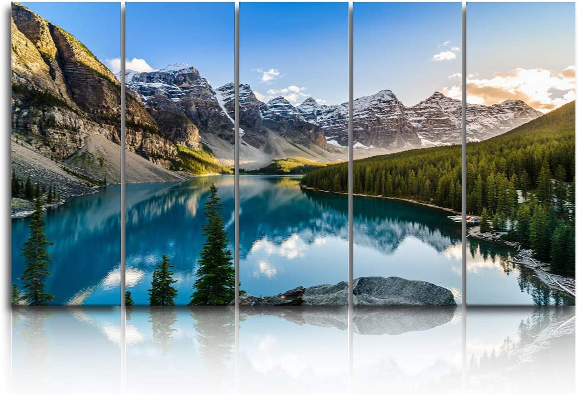 EZON-CH 5 Panels Canvas Wall Art Prints Canada Banff National Park Rockies Mountain and Lake Artwork Large Poster Ready to Hang for Living Room Bedroom Office Home Decor - 12x32 inchx5