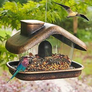 FUNPENY Hanging Wild Bird Feeder, Panorama House Bird Feeders and Garden Decoration for Bird Watchers and Children
