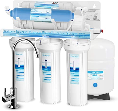 Geekpure 6-Stage Reverse Osmosis Drinking Water Filter System with DI Filter TDS to 0-NSF Certified Membrane Removes Up to 99 Impurities-75 GPD