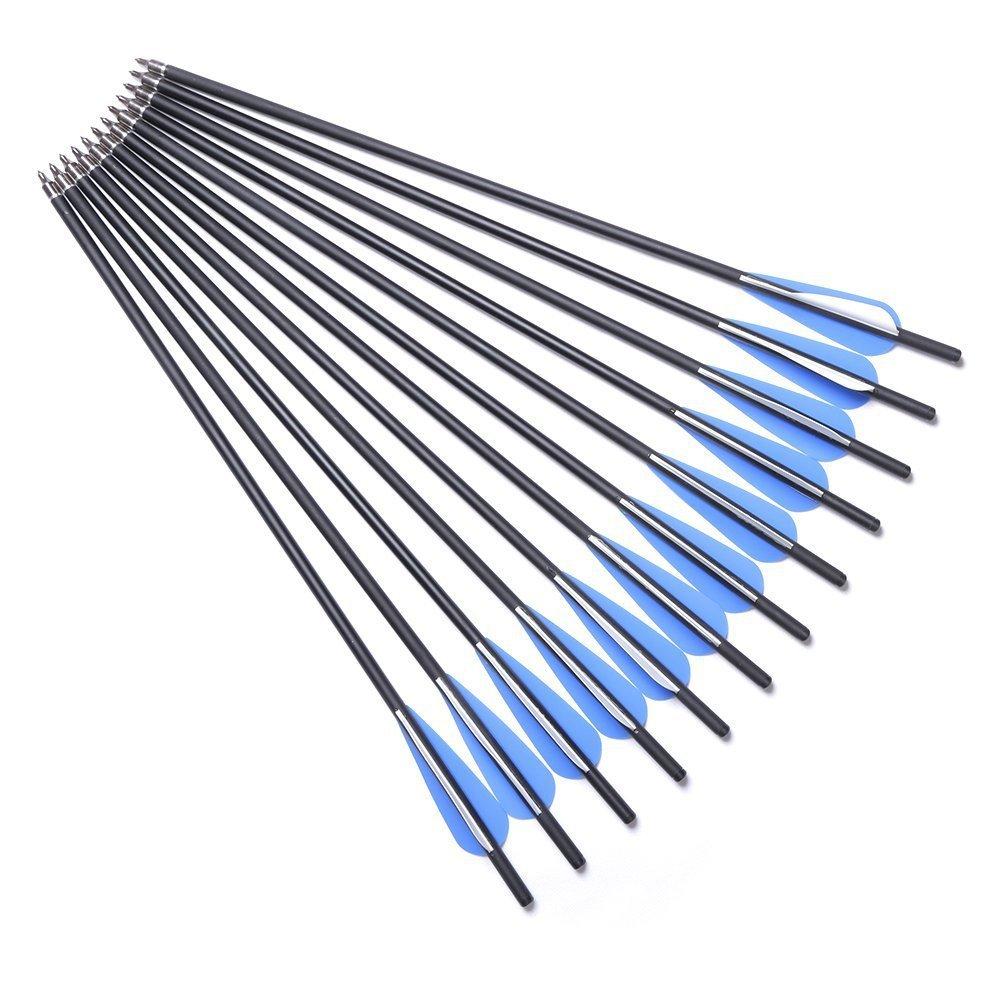 DMAR Flechas de ballesta Flechas de práctica Caza Tiro con arco Tornillo de ballesta de carbono Ejes de carbono livianos Paquete de 12 piezas Carbono Spine 500 para competición / Práctica Caza / Accesorios de tiro con arco-17 20 22 Pulgadas