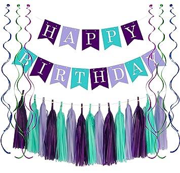 Amazon.com: Cartel de cumpleaños con diseño de sirena con ...