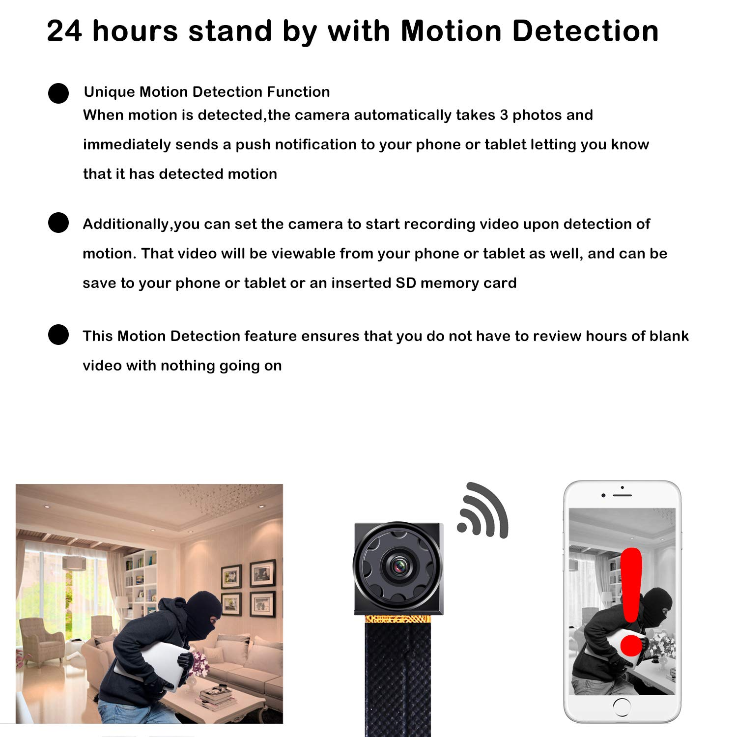 Prompt Mini Hidden Camera WiFi Small Portable Spy Camera Wireless Nanny Camera Indoor Video Recorder HD 1080P Home Monitoring Security Cam with Cell Phone iPhone App by Prompt (Image #2)