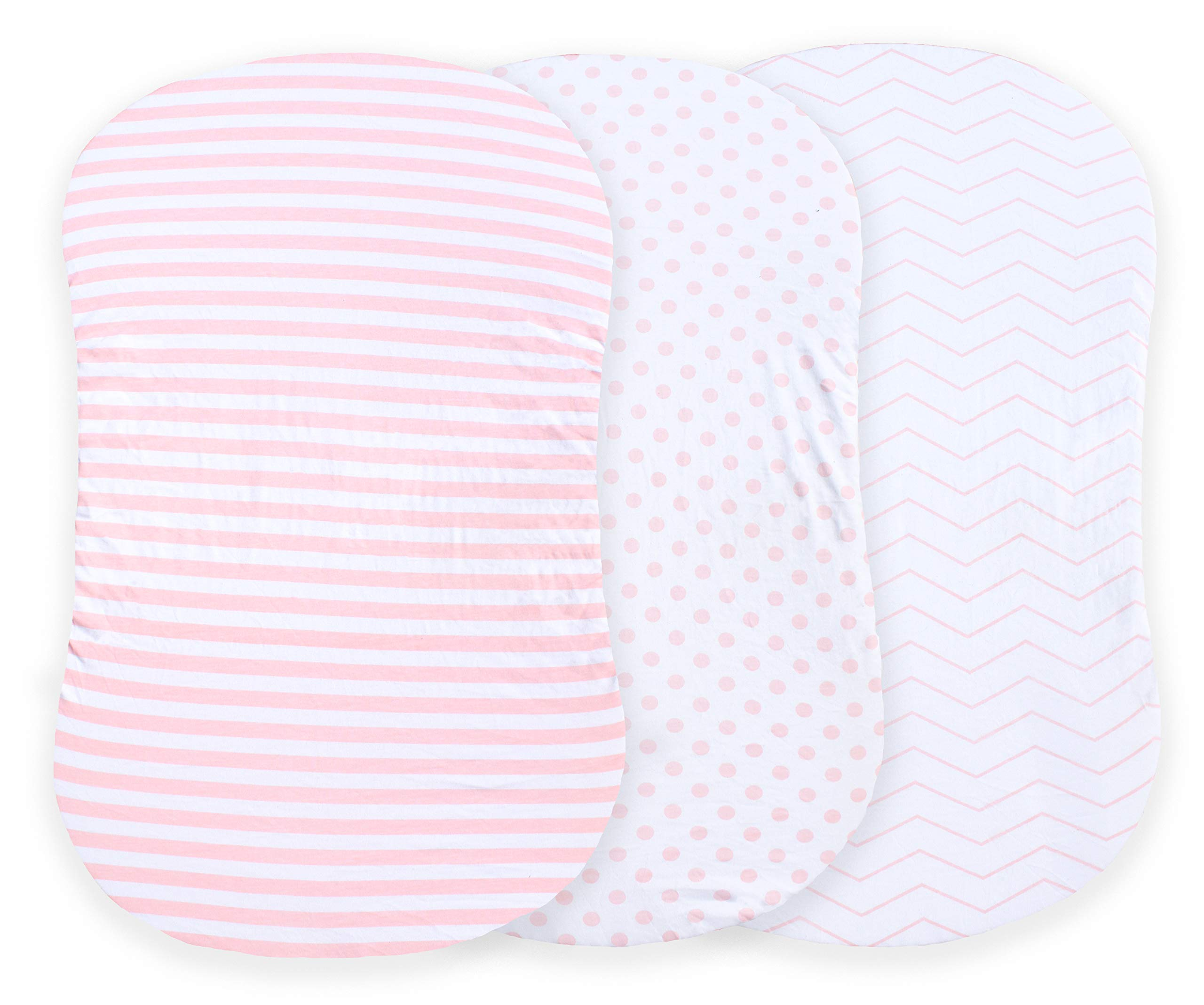 NODNAL CO. Pink Bassinet Fitted Sheet Set 3 Pack 100% Jersey Cotton for Baby Girl - Chevron, Polka Dot and Stripe 160 GSM Sheets by NODNAL CO. (Image #2)