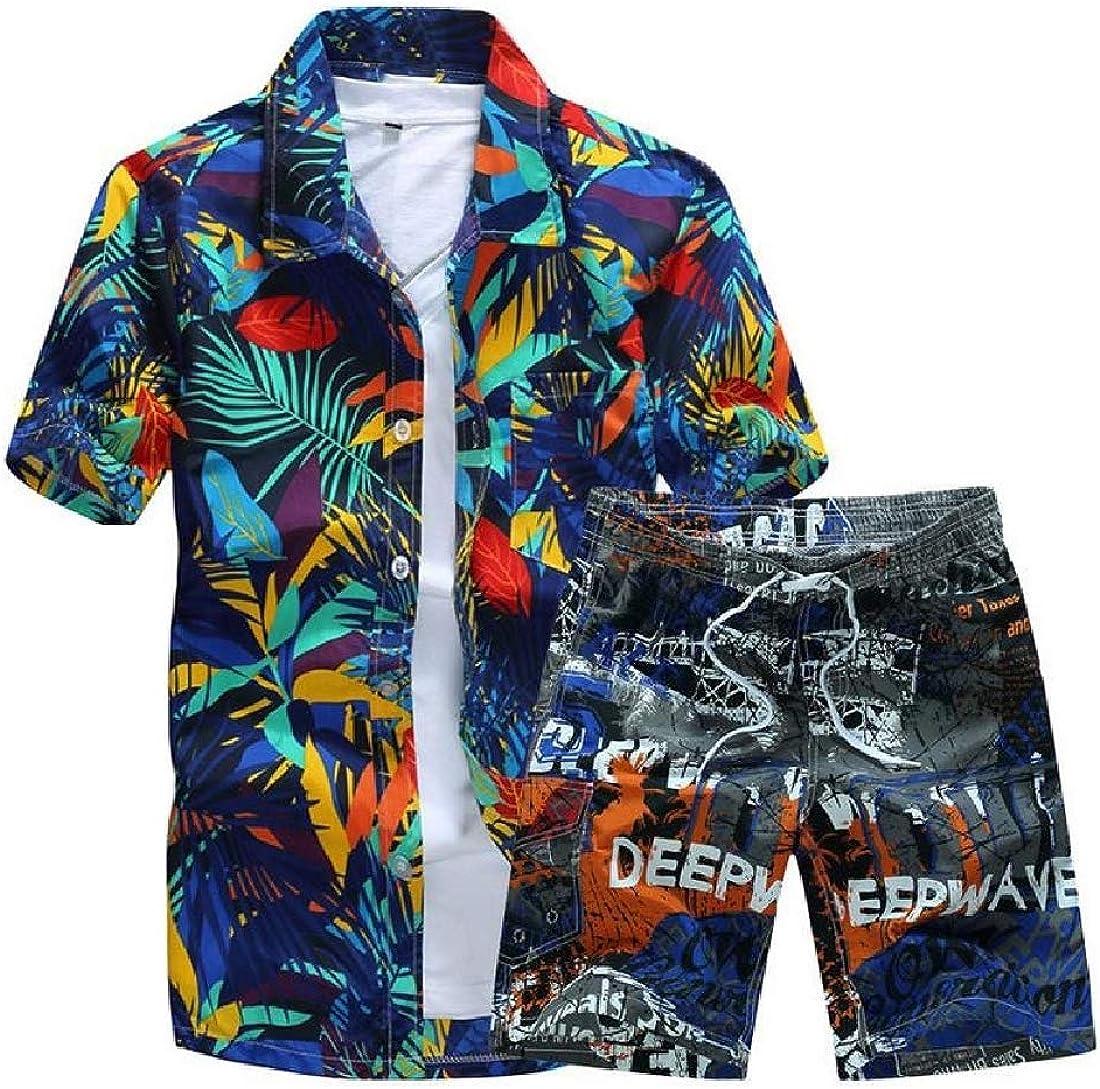 Abetteric Mens Beach Short Sleeve Print Plus Size Sweatsuit Pants Set