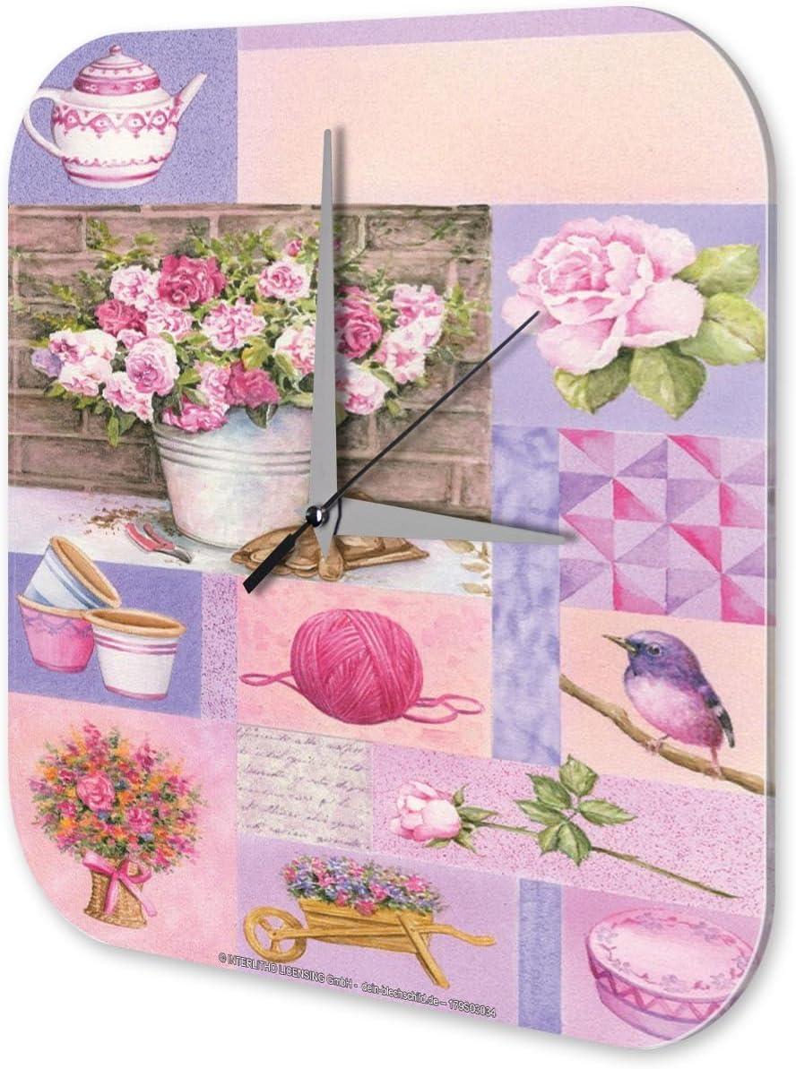 Reloj De Pared DecoraciÛn Cocina Marke rosas de color rosa la tetera de aves Plexiglas Imprimido 25x25 cm