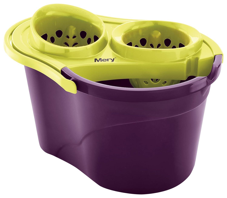 Mery 0350 - Secchio con Doppio strizzatore, Ecologico, Viola e Verde Lime, 25,8x 32,5x 44cm Grupo Rayen