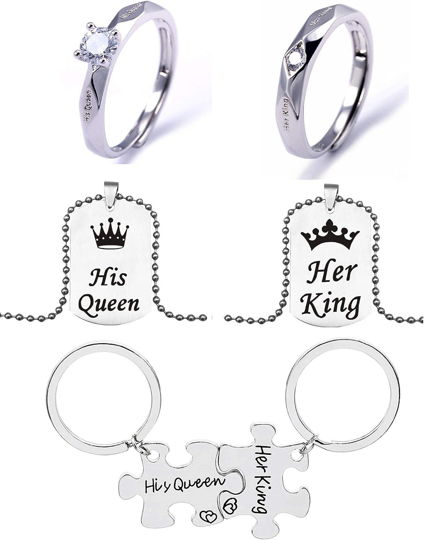 El juego de regalo de Navidad para parejas, incluye un par de anillos, un par de collares y un par de llaveros para su reina y su rey serie para regalo de San Valentín.