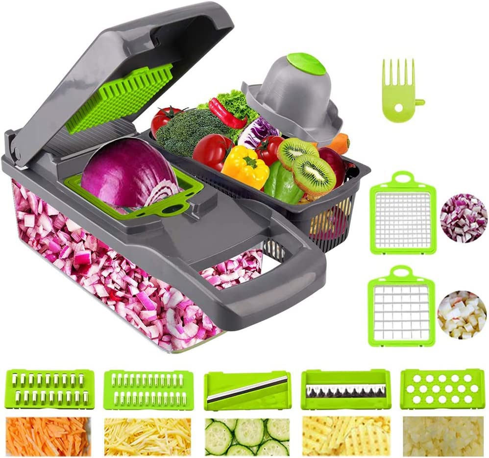 ALY Vegetable Chopper and Onion Chopper Spiralizer Vegetable Slicer Heavier Duty Vegetable Slicer Dicer Cutter with Container Pro Food Chopper 7 Blades