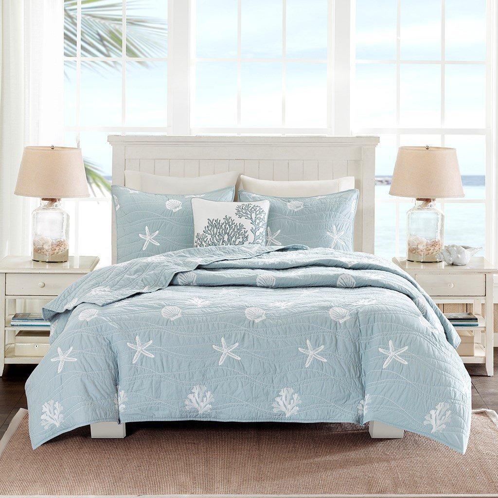 Coastal Beach House Starfish Seashell 100% Cotton King / California Cal King Quilt + 2 Shams + Decorative Pillow and Home Style Sleep Mask Ocean Theme Quilts Sets
