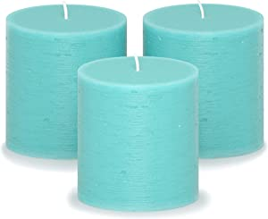 CANDWAX 3x3 Pillar Candle Set of 3 - Decorative Candles Unscented and No Drip Candles - Ideal as Wedding Candles or Large Candles for Home Interior - Turquoise Candles